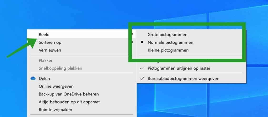 pictogrammen in windows aanpassen in grootte