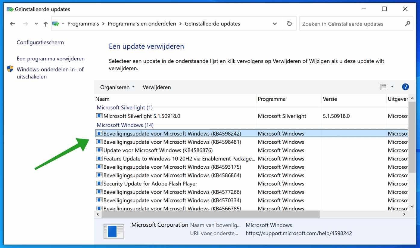 recent geinstalleerde windows updates weergeven