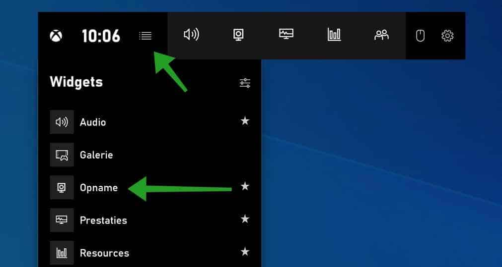 schermopname starten met xbox game bar