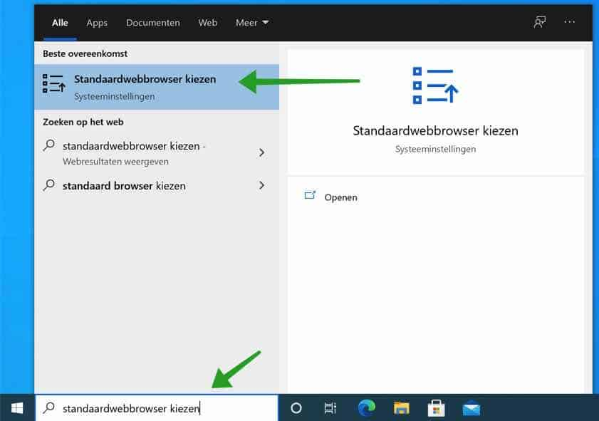 standaard webbrowser kiezen in windows