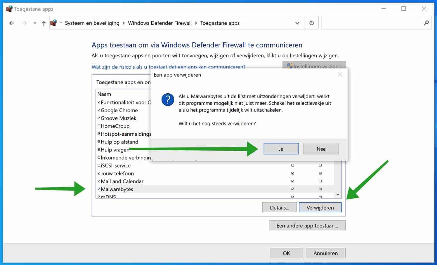 App verwijderen uit de Windows firewall