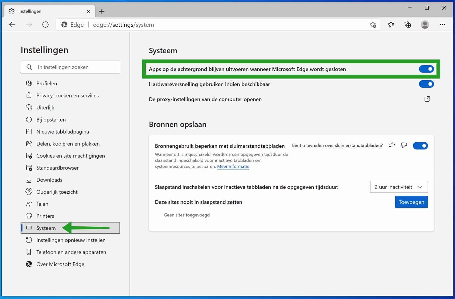 Microsoft Edge achtergrondprocessen uitschakelen