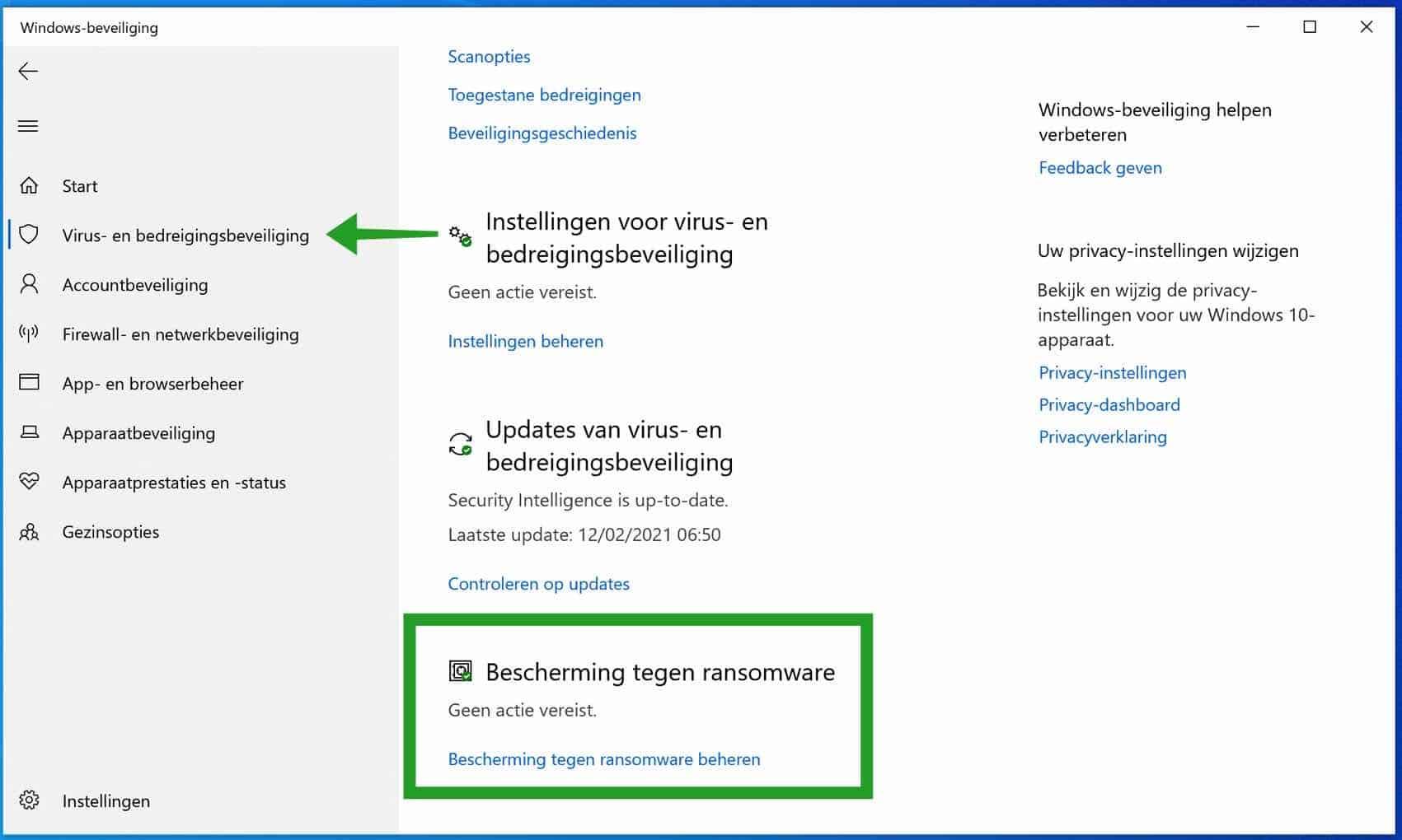 Bescherming tegen ransomware instellingen in windows