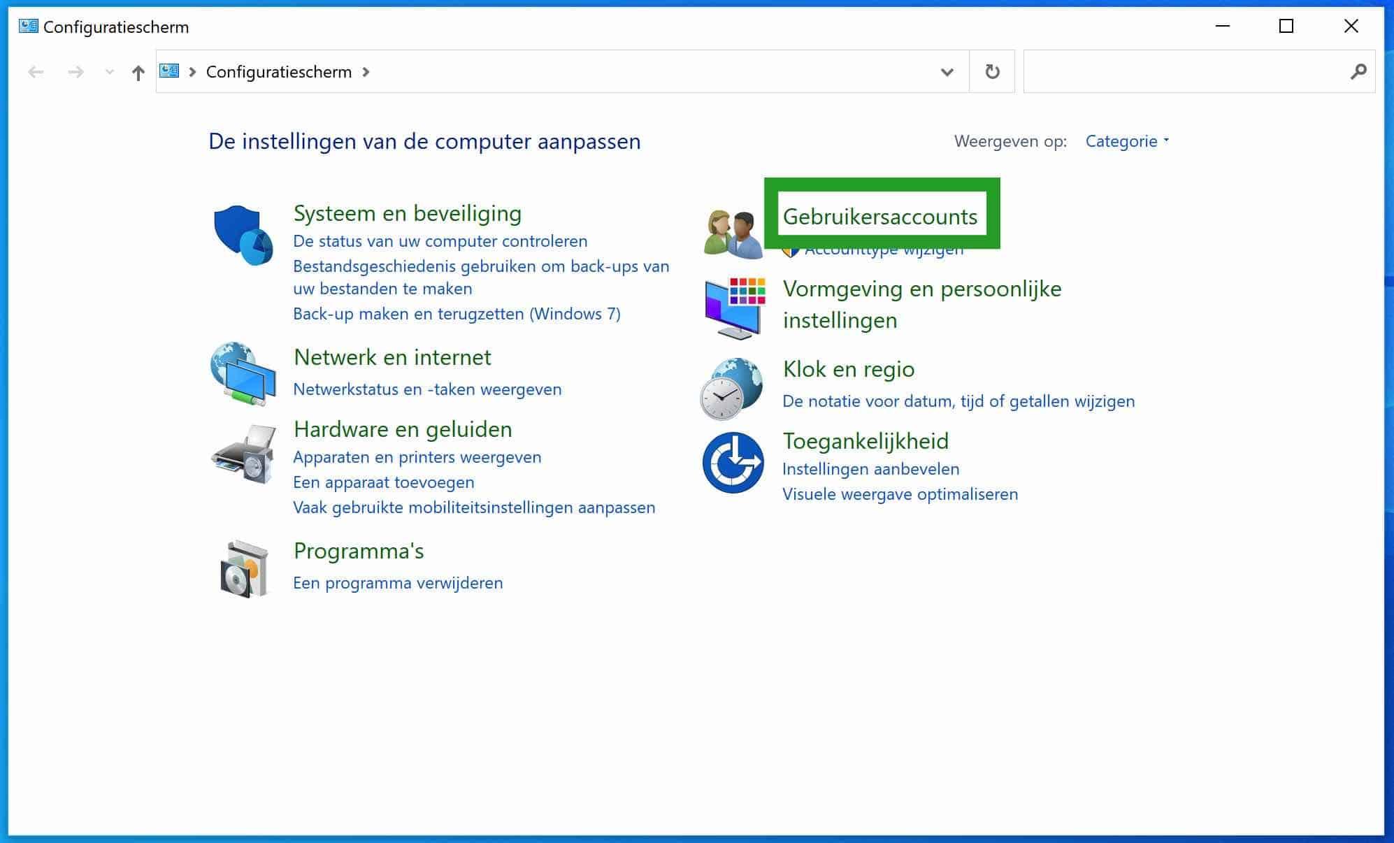 Configuratiescherm gebruikersaccounts