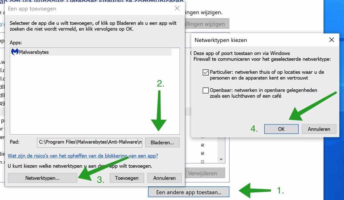 Een andere app toestaan in Windows firewall