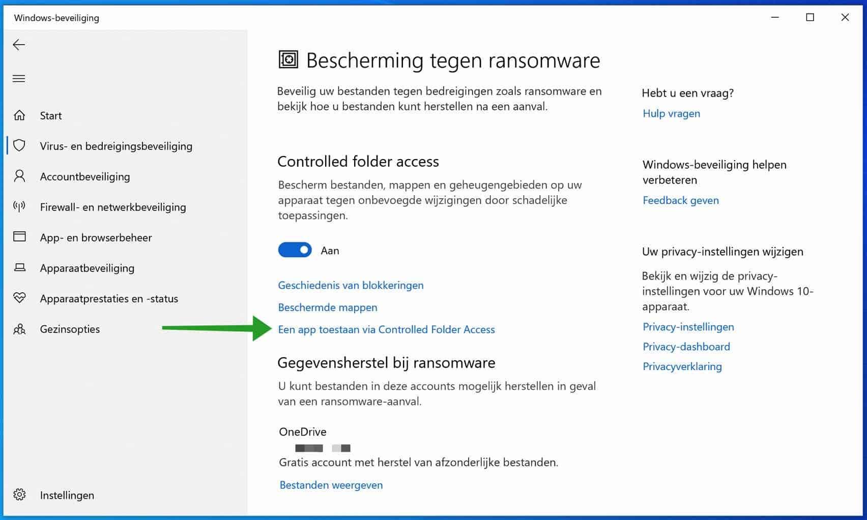 Een app toestaan via Controlled folder access