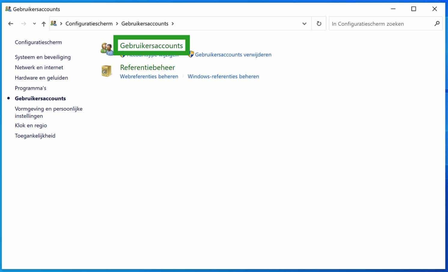 Gebruikersaccounts windows 10
