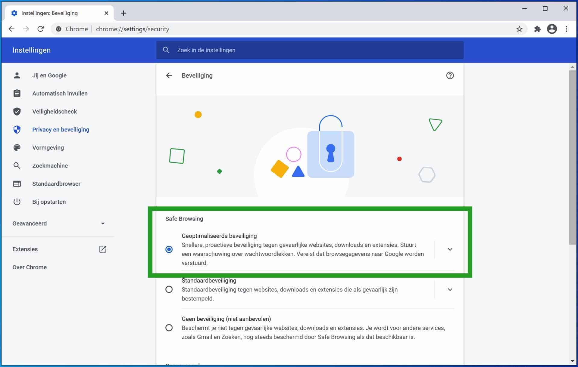 Geoptimaliseerde beveiliging inschakelen in Google Chrome