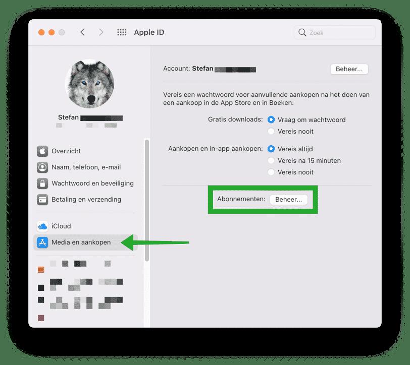 Media en aankopen wijzigen mac