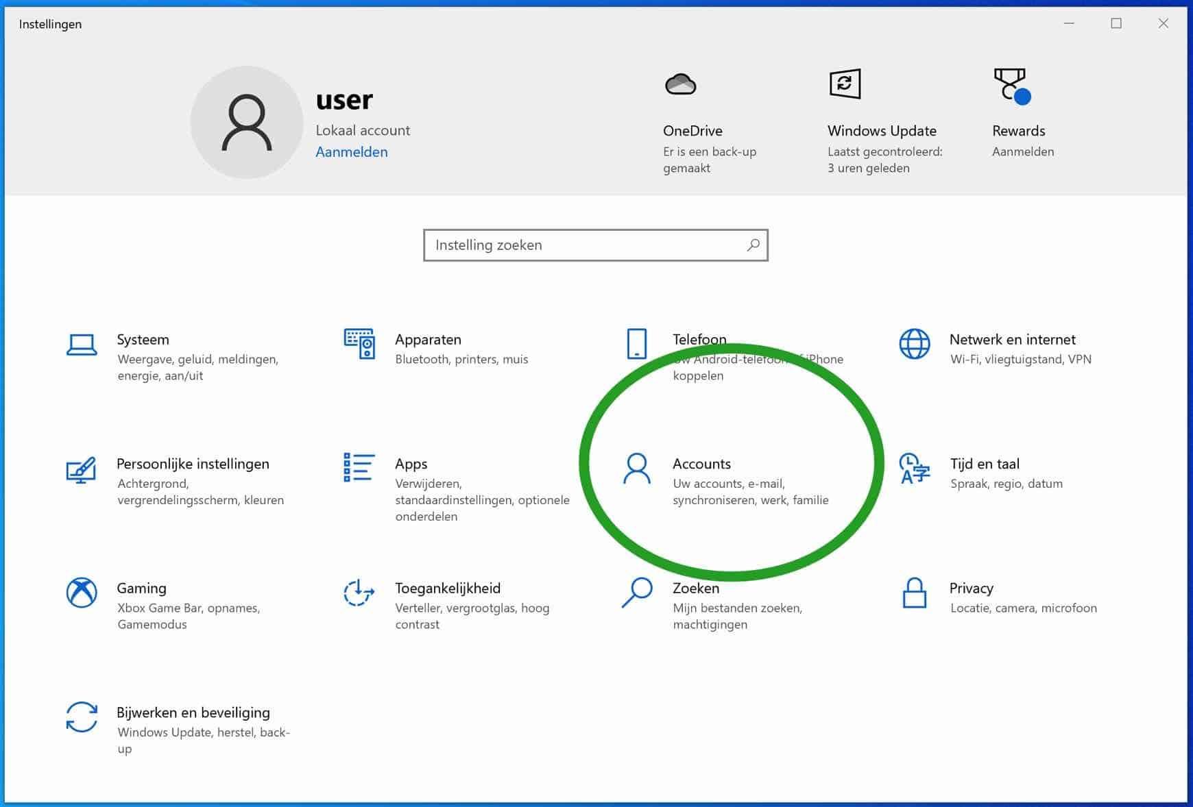 Windows accounts instellingen