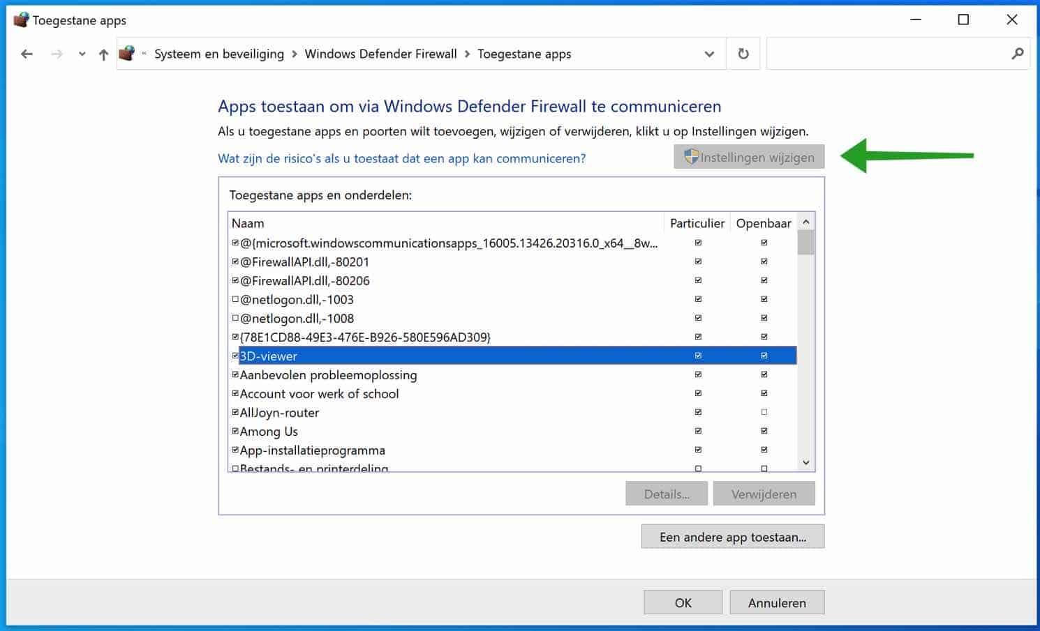 Apps blokkeren, wijzigen of toestaan in de Windows Firewall