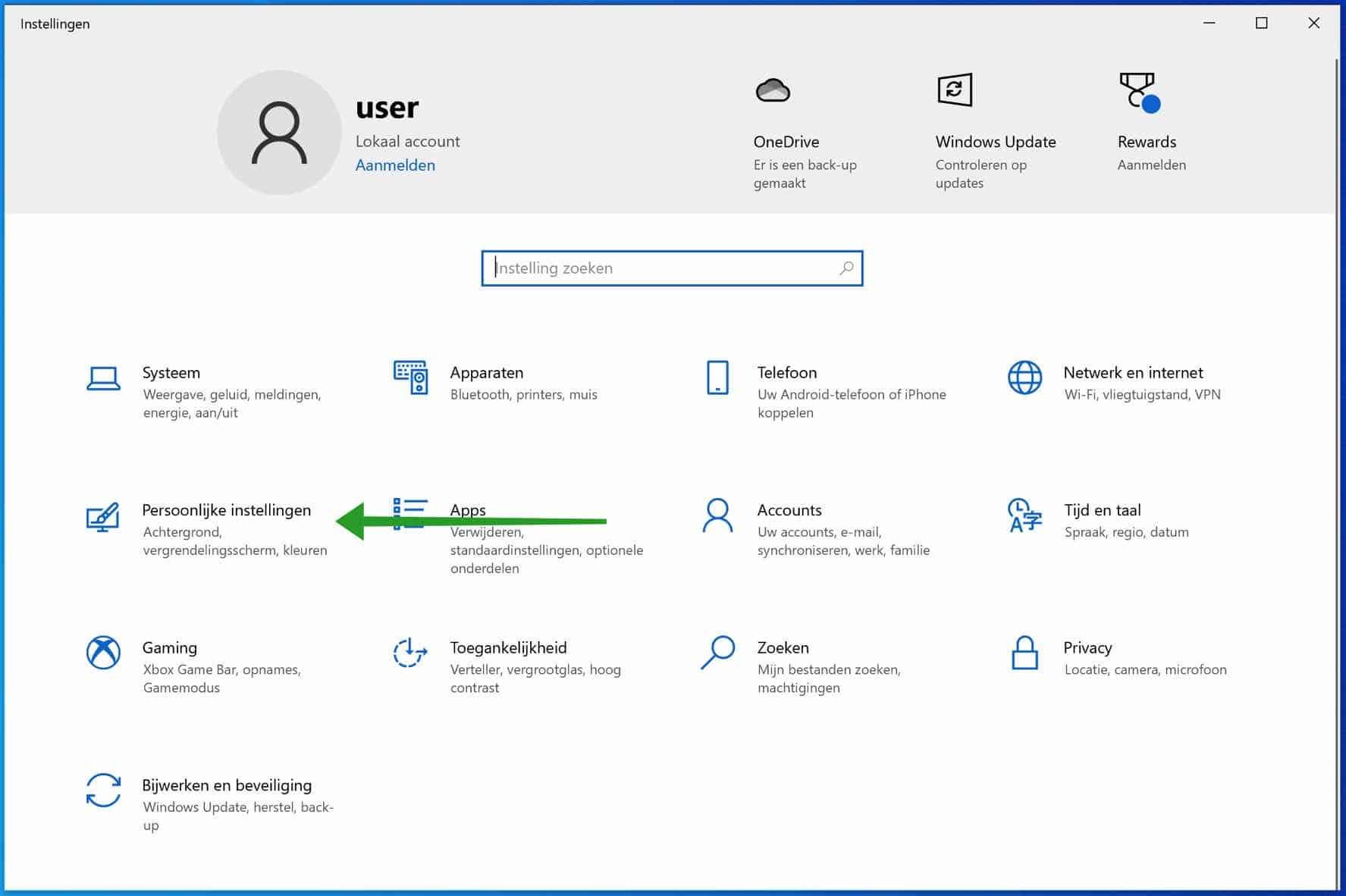 Windows persoonlijke instellingen
