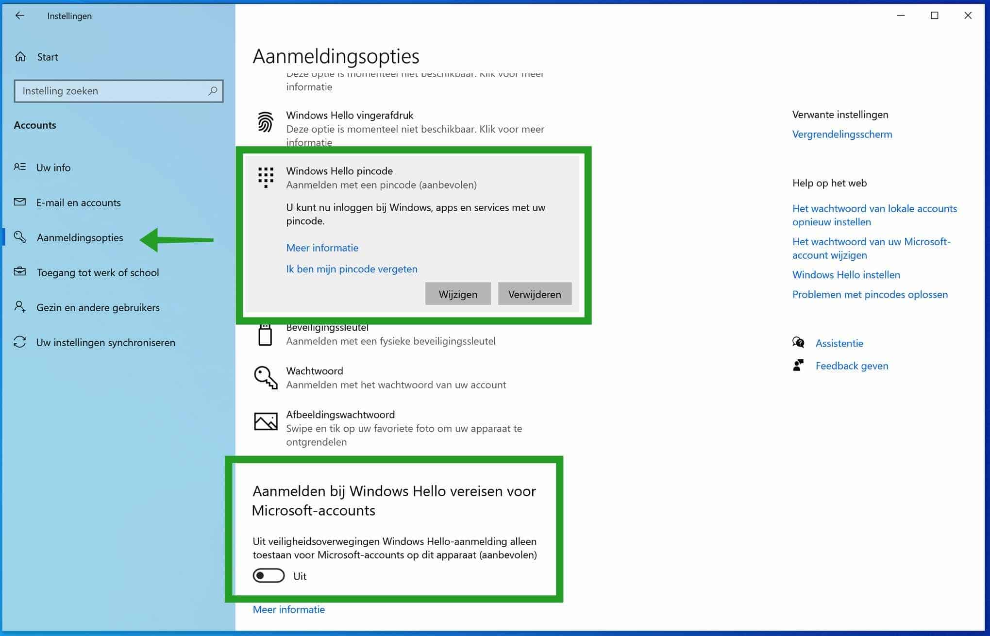 PIN verwijderen en inloggen met wachtwoord in Windows 10