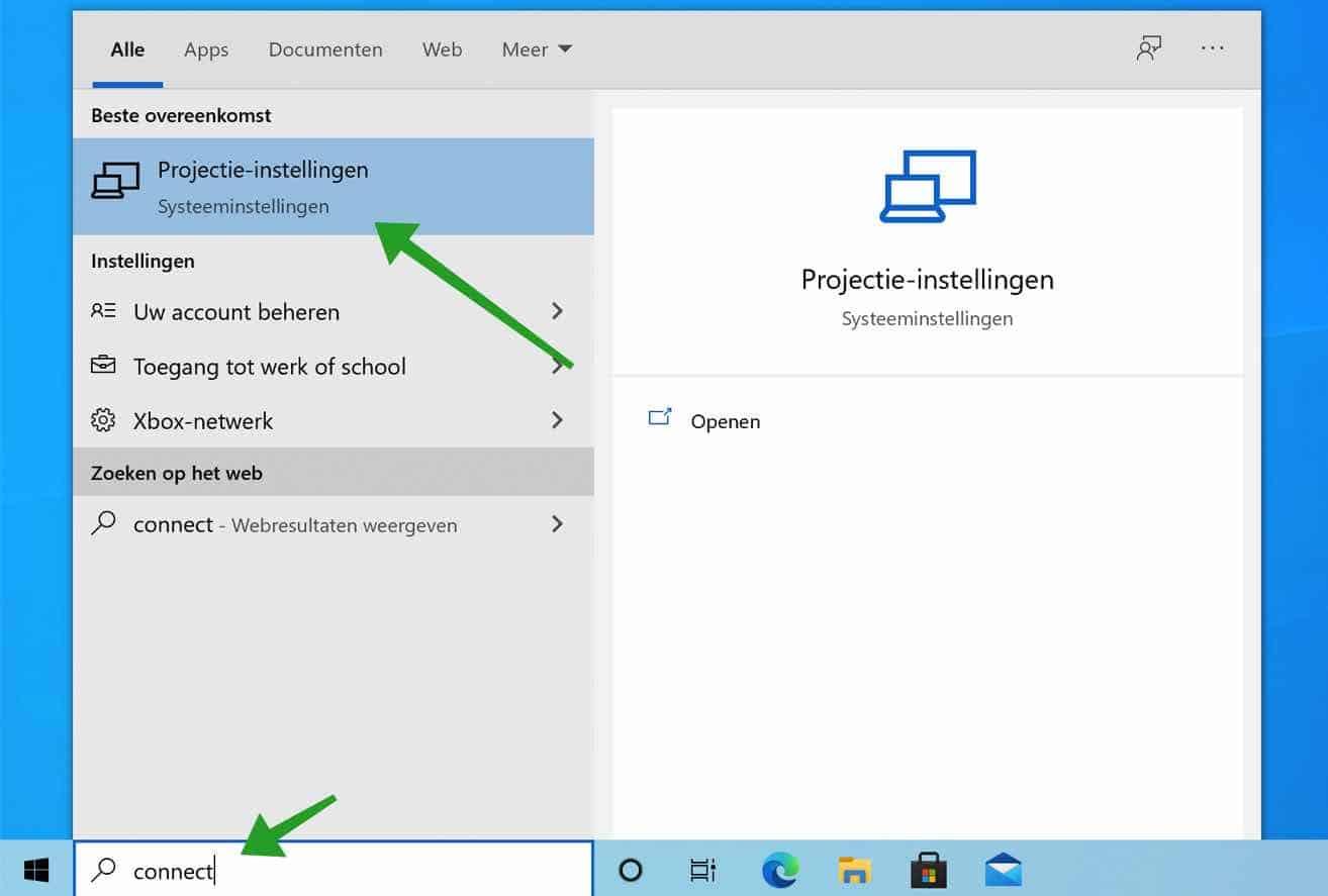 Draadloos beeldscherm (Connect app) toevoegen aan Windows (Miracast)