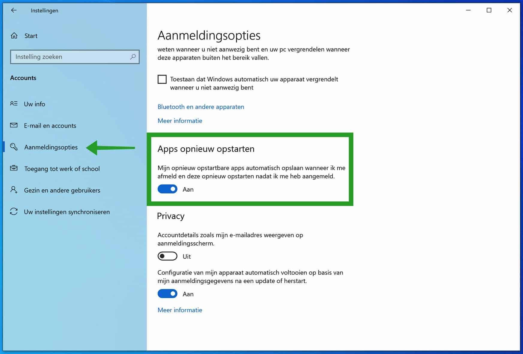 Apps automatisch hervatten in Windows na inloggen