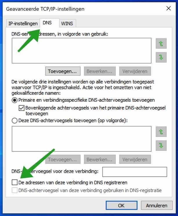 dns adres niet registeren in dns server