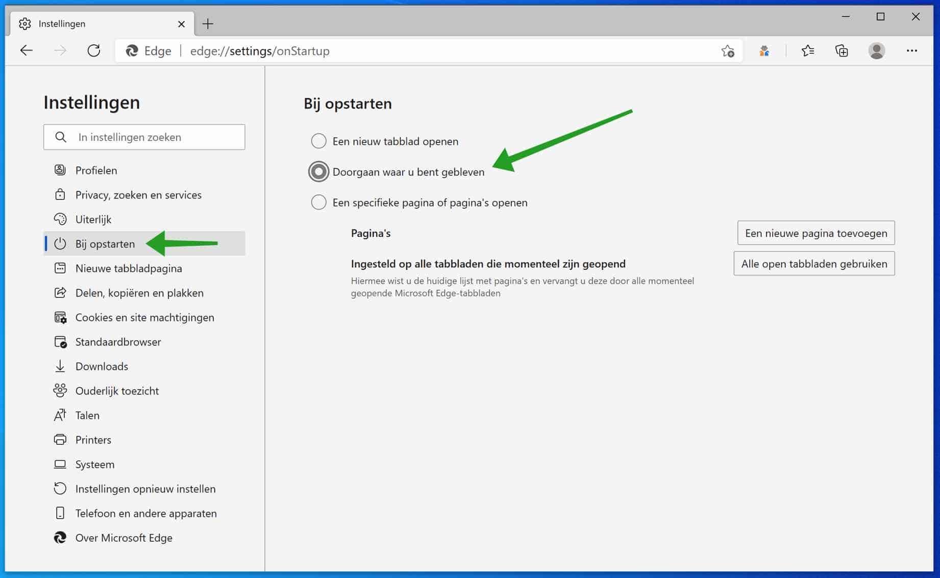Laat Microsoft Edge altijd uw laatst geopend tabbladen openen