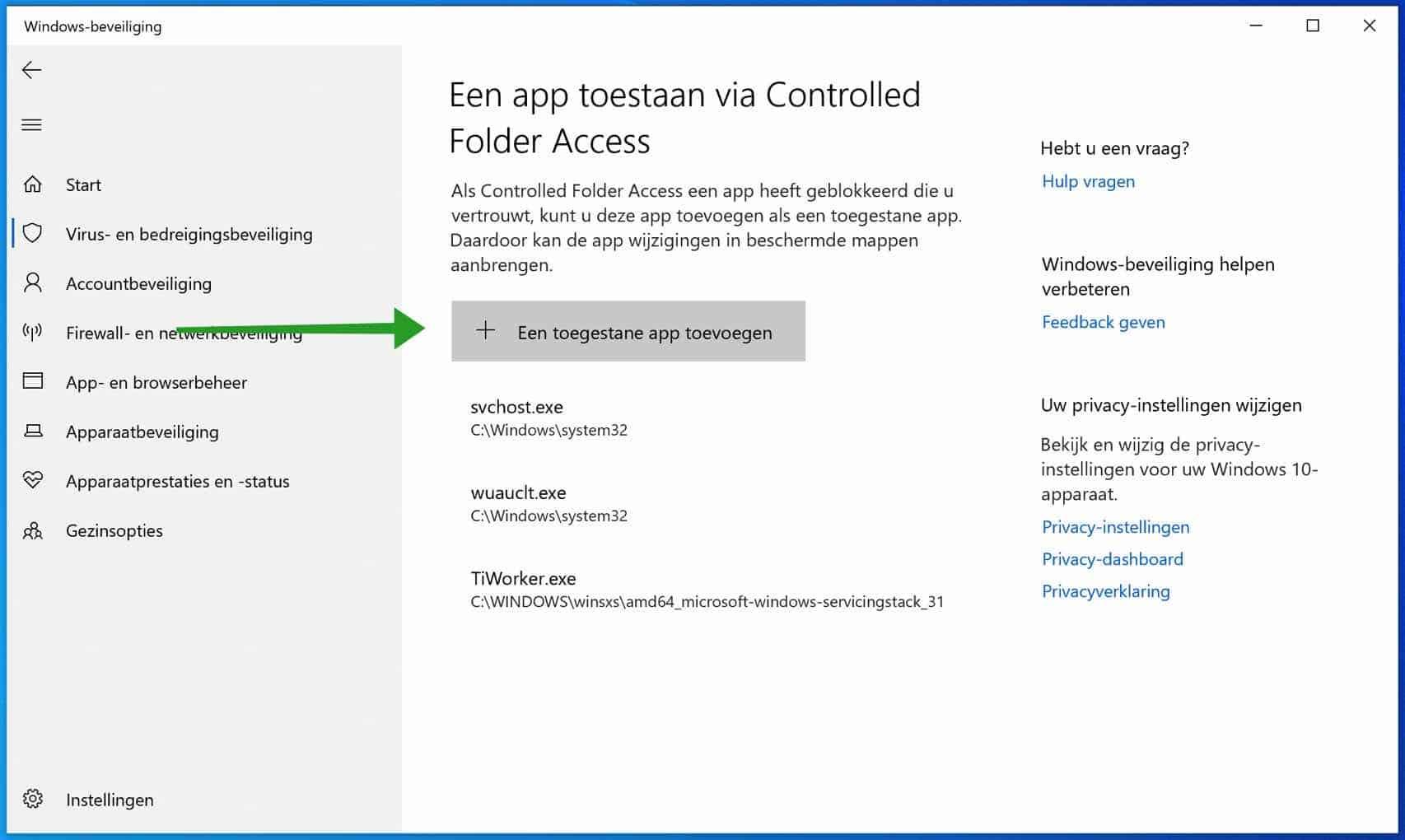 een toegestane app toevoegen controlled folder access