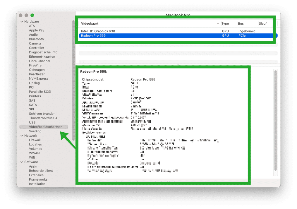 ingebouwde videokaart model in mac