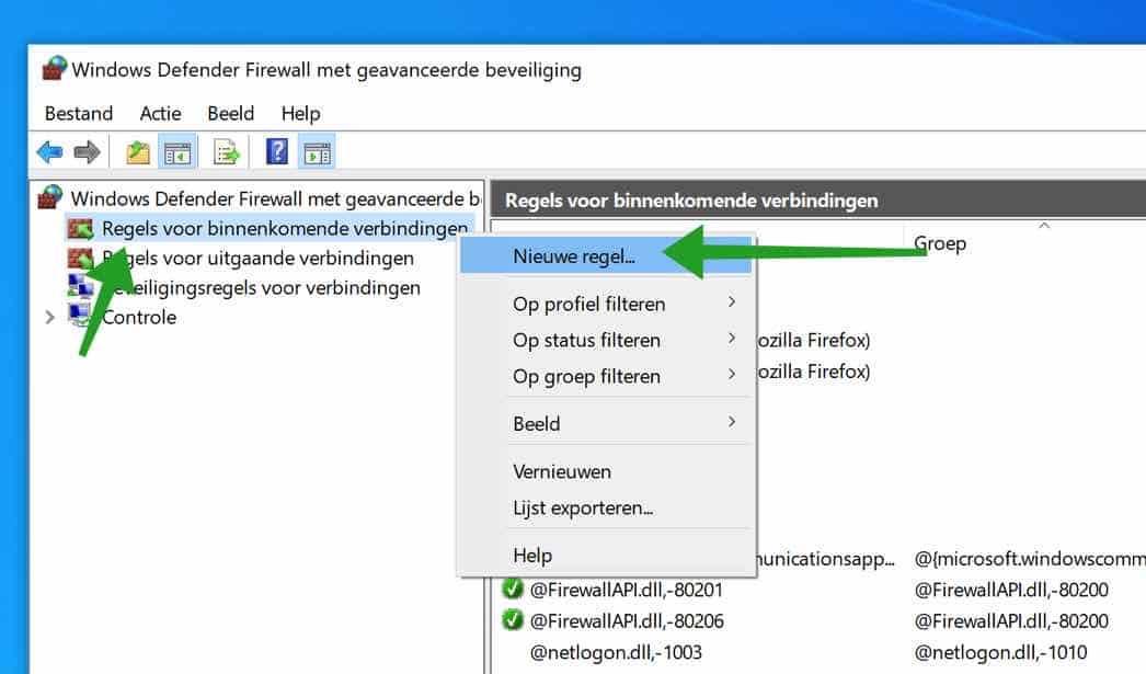 nieuwe inkomende regel aanmaken windows firewall