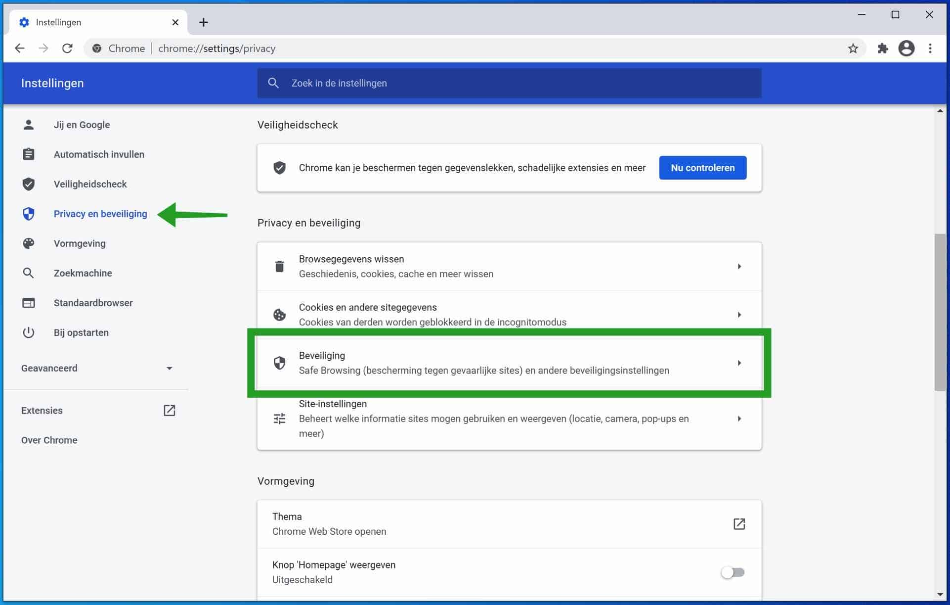 privacy en beveiligingsinstellingen Google Chrome