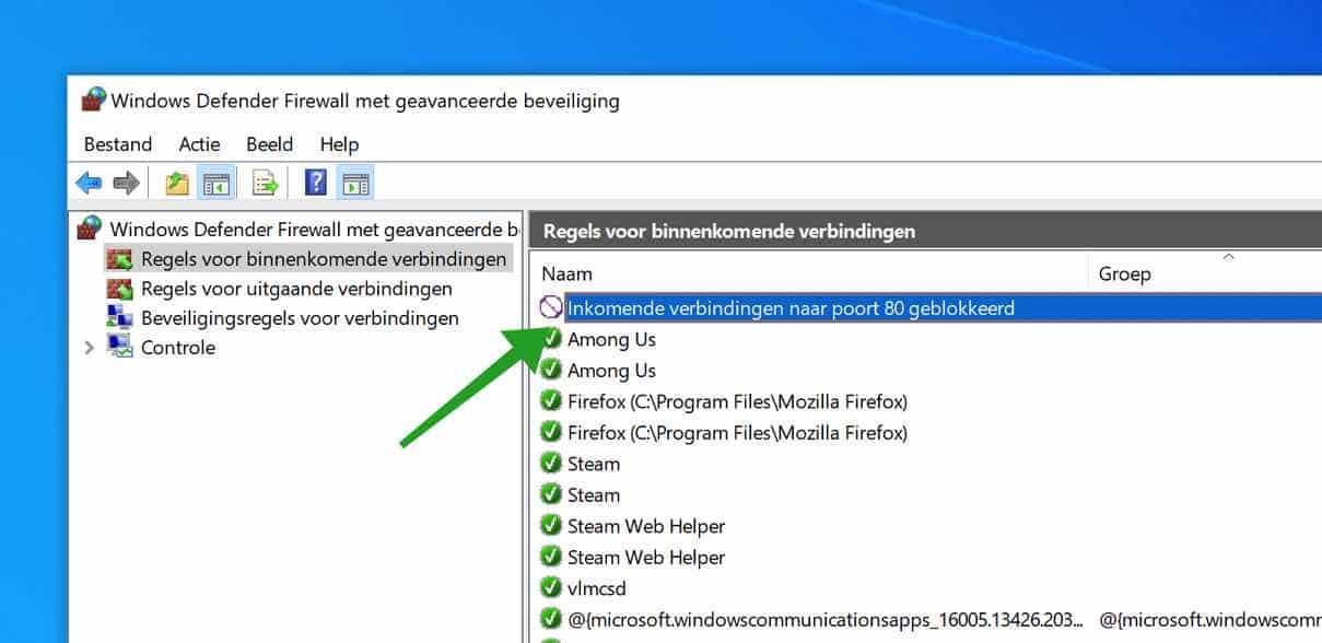 regel aangemaakt windows firewall