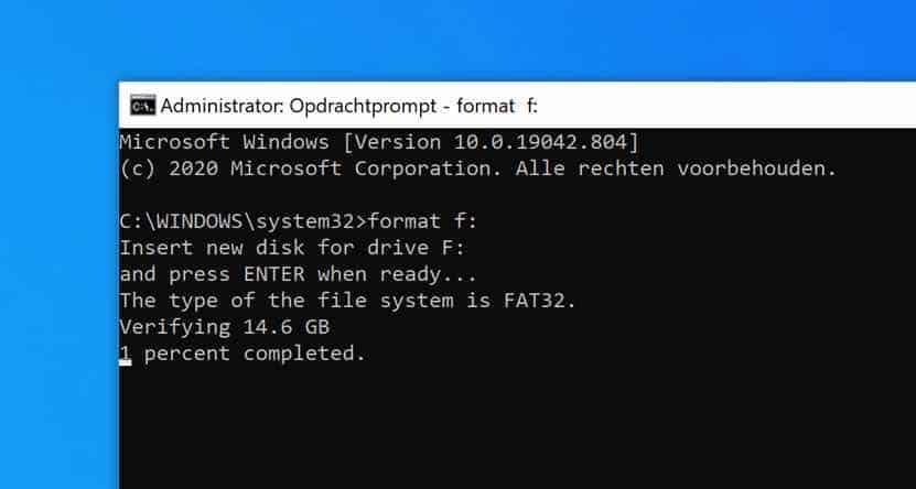 Schijf of USB stick formatteren in Windows via Opdrachtprompt