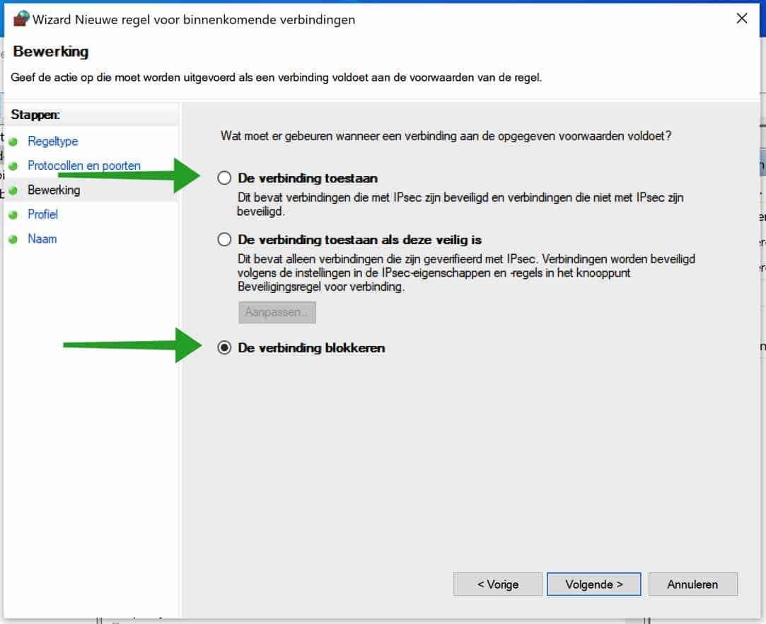 verbinding blokkeren in windows firewall