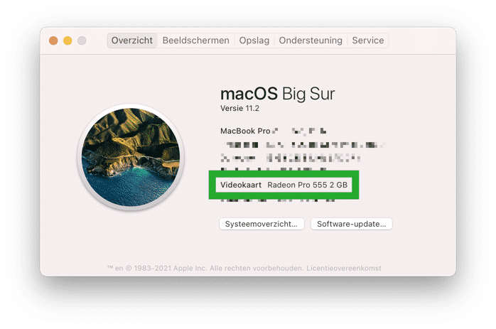 videokaart in mac