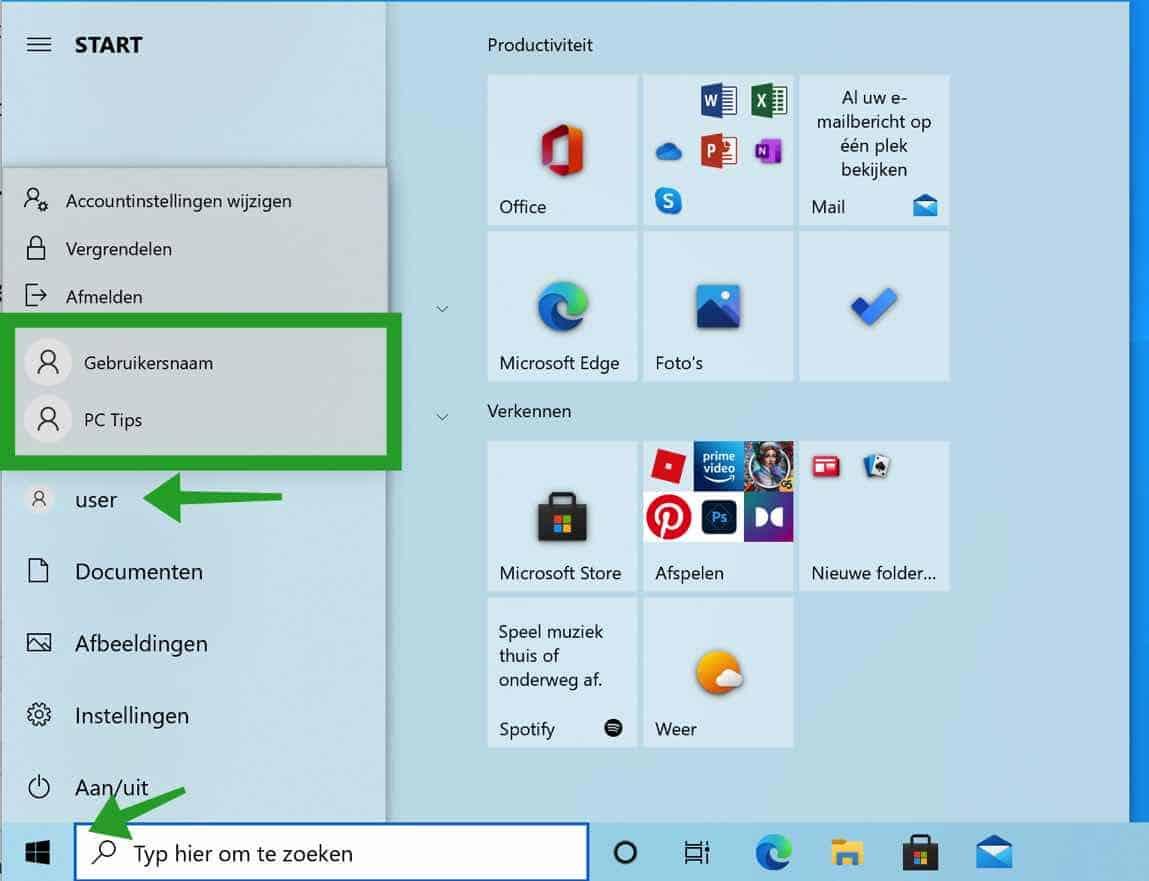 windows gebruikers weergeven via het start menu