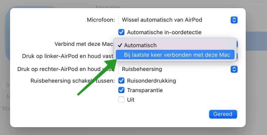 Airpods automatisch verbinden met mac uitschakelen
