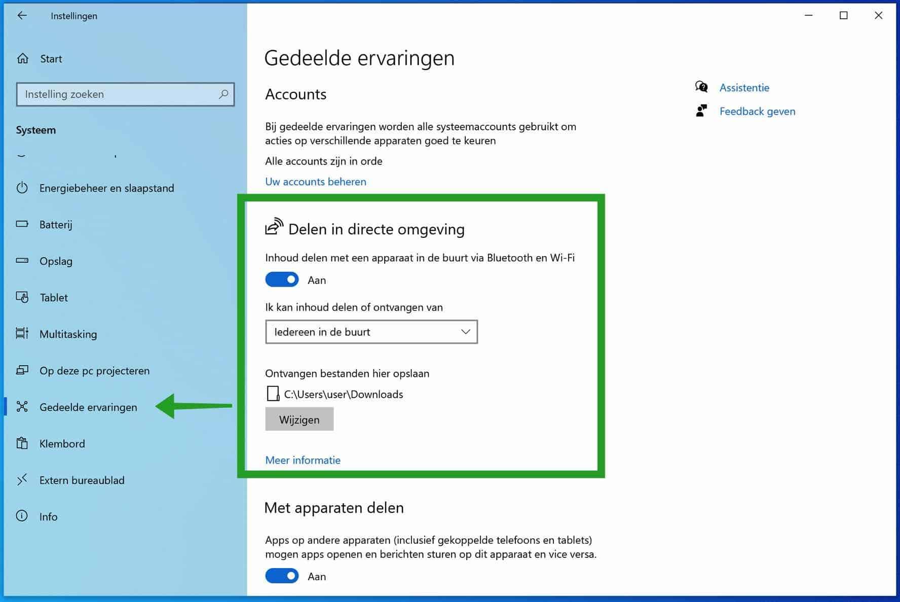 Delen in directe omgeving inschakelen in Windows 10