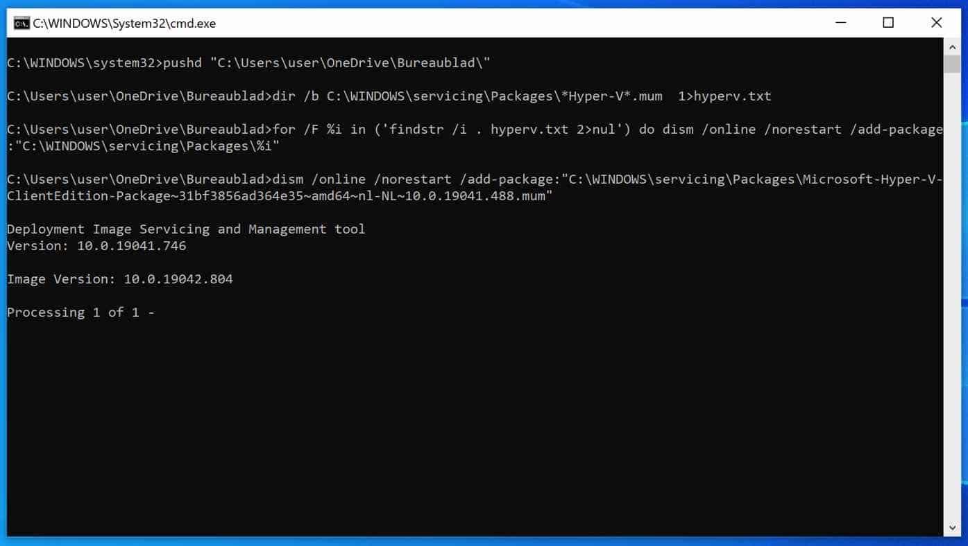Hyper-V installeren in Windows home editie