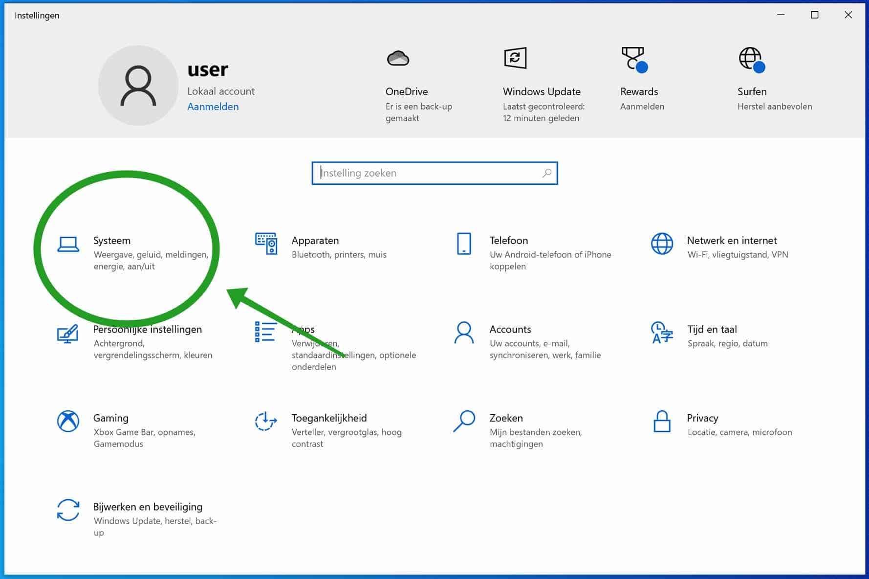 Windows systeem instellingen