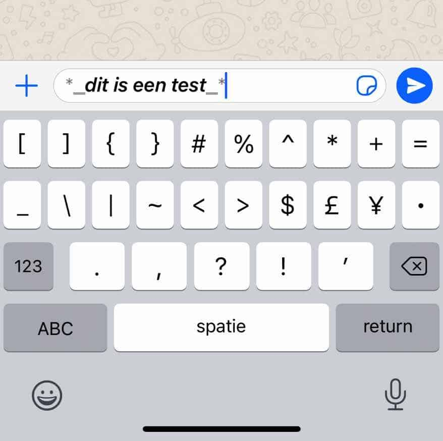 combinatie lettertype whatsapp