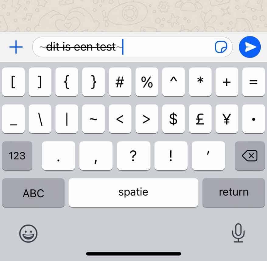 doorgestreept woord verzenden whatsapp