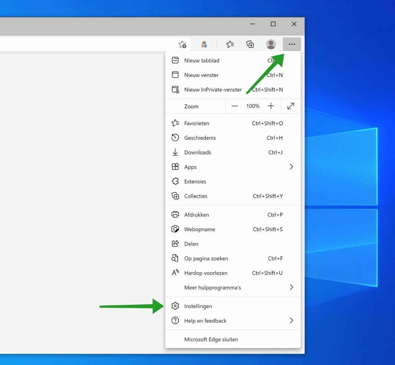microsoft edge menu openen