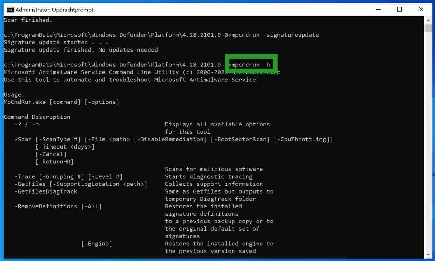 mpcmdrun help windows defender antivirus