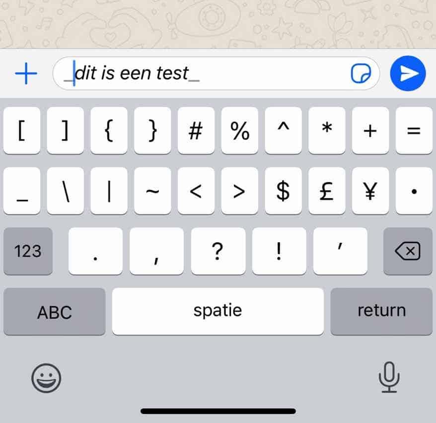 schuingedrukt woord verzenden whatsapp