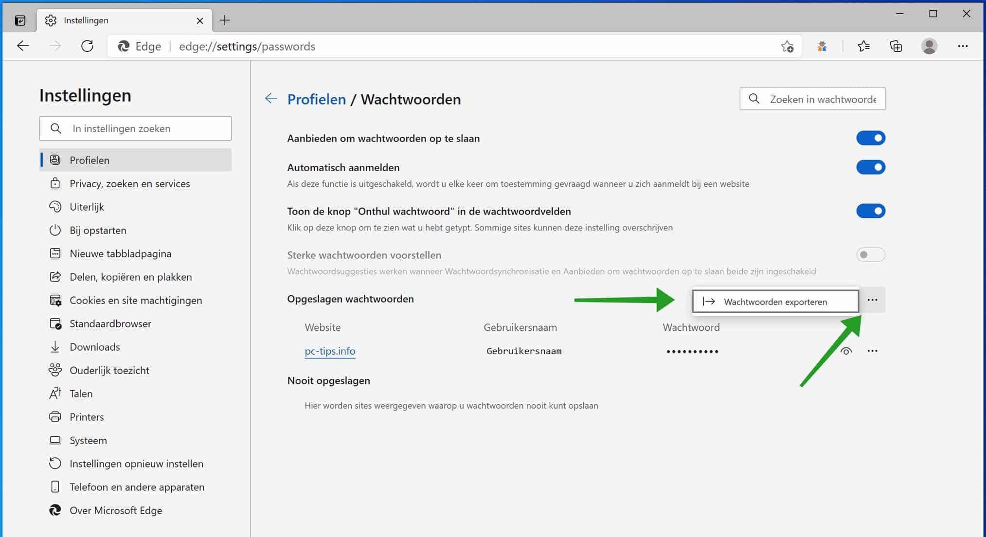 Wachtwoorden exporteren uit Microsoft Edge