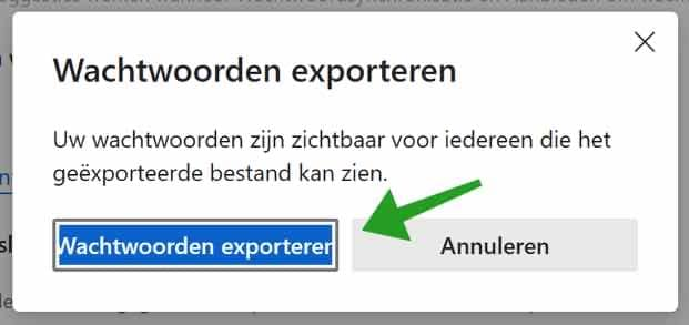 wachtwoord exporteren microsoft edge