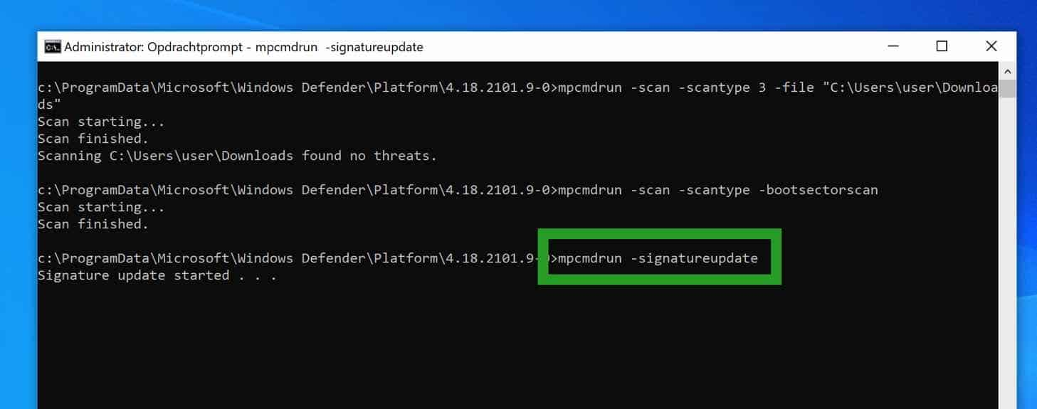 windows defender antivirus updaten via opdrachtprompt cmd command-prompt