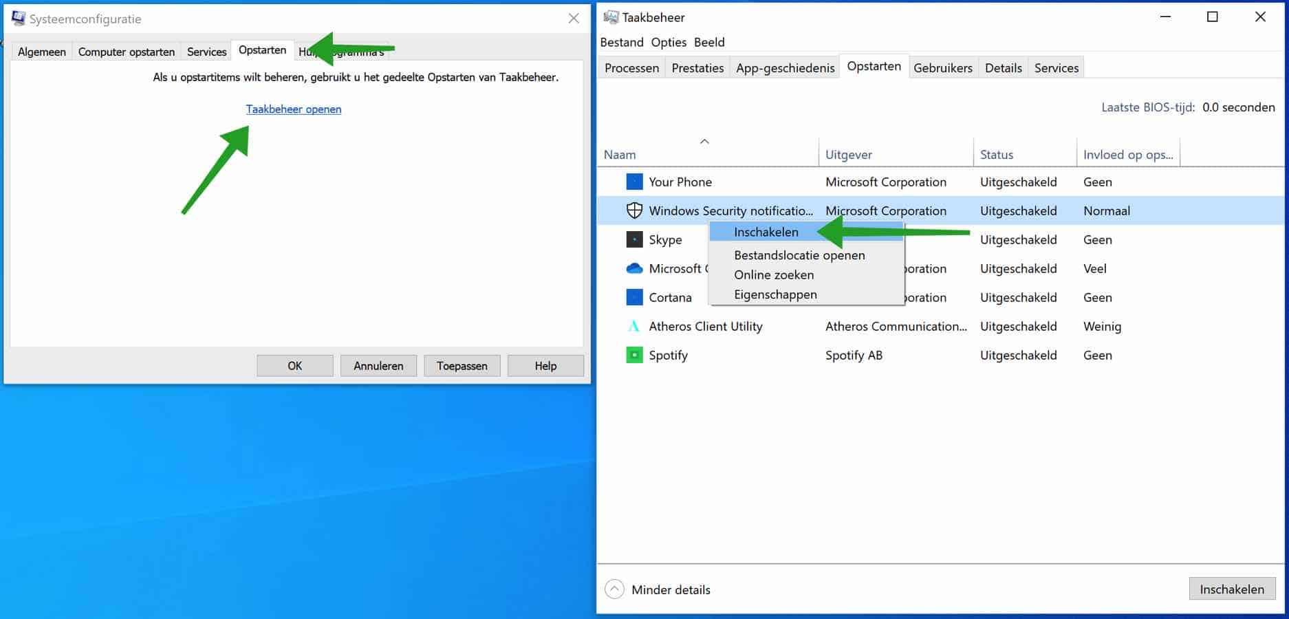 Alle opstart programmas inschakelen in Windows