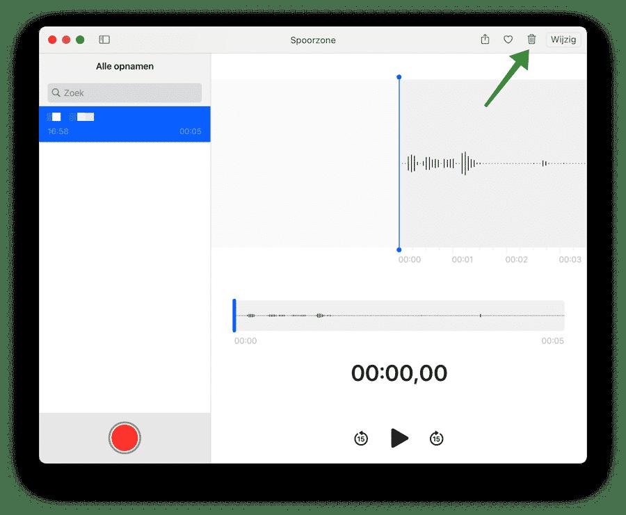 Audio verwijderen Dictafoon Mac