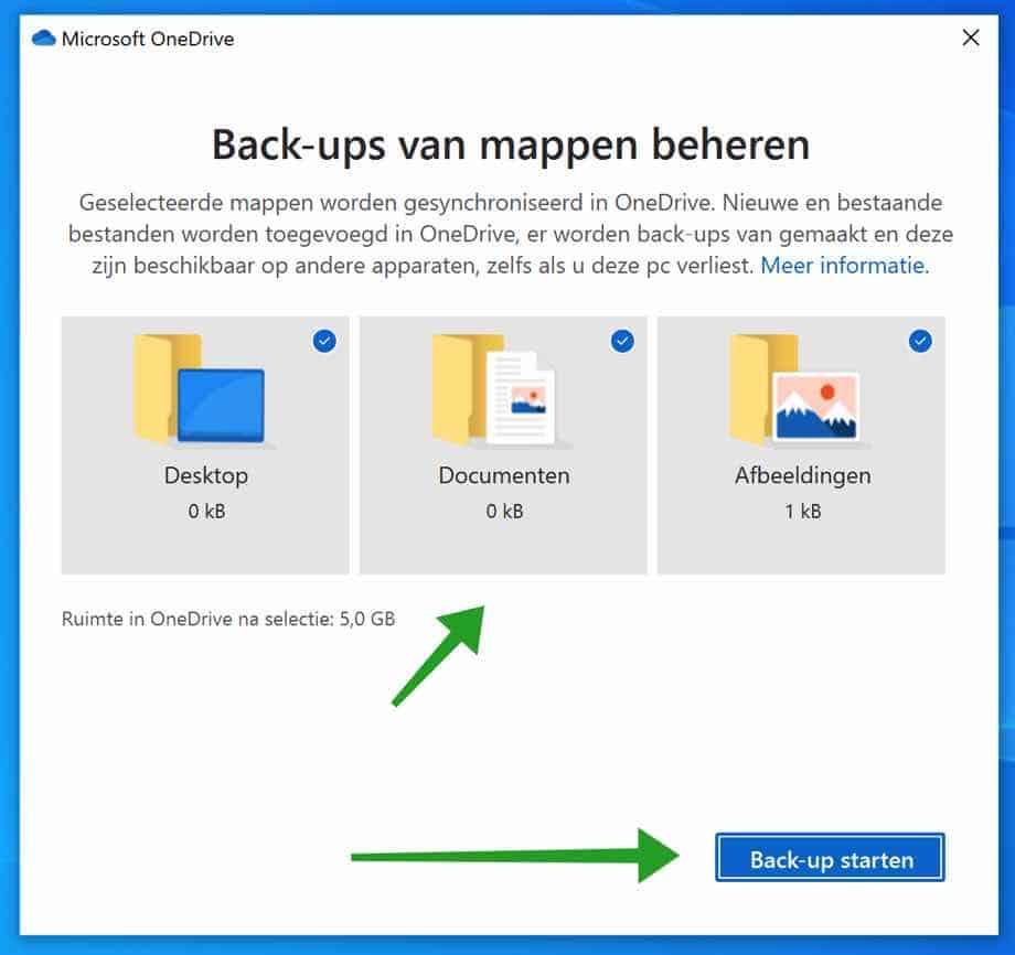 Maak een back-up van Documenten map met OneDrive in Windows