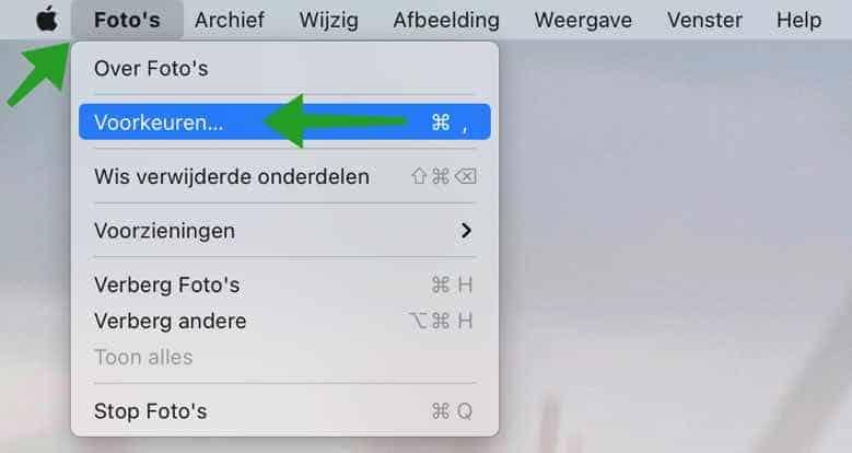 Fotos app voorkeuren mac