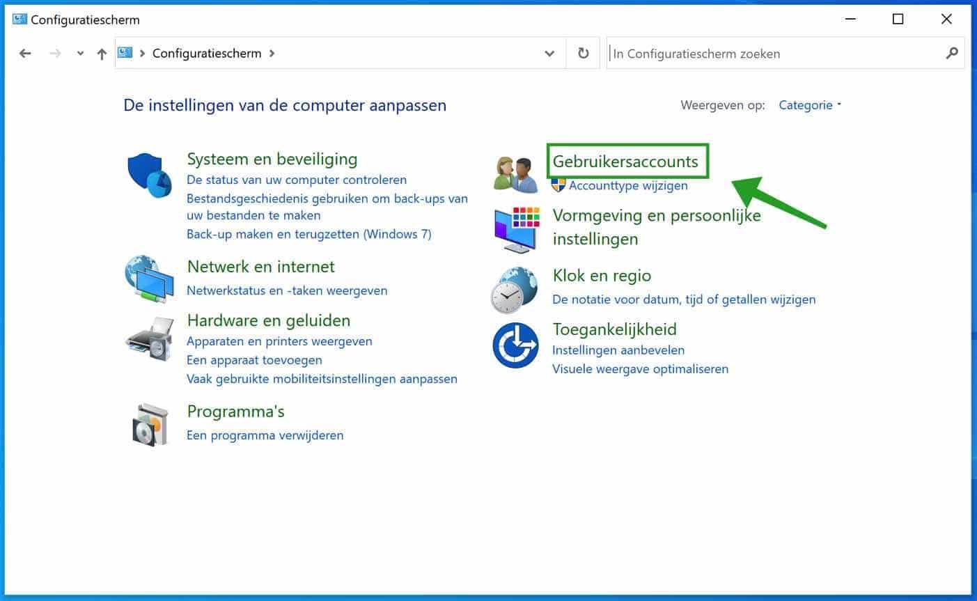 Gebruikersaccounts configuratiescherm