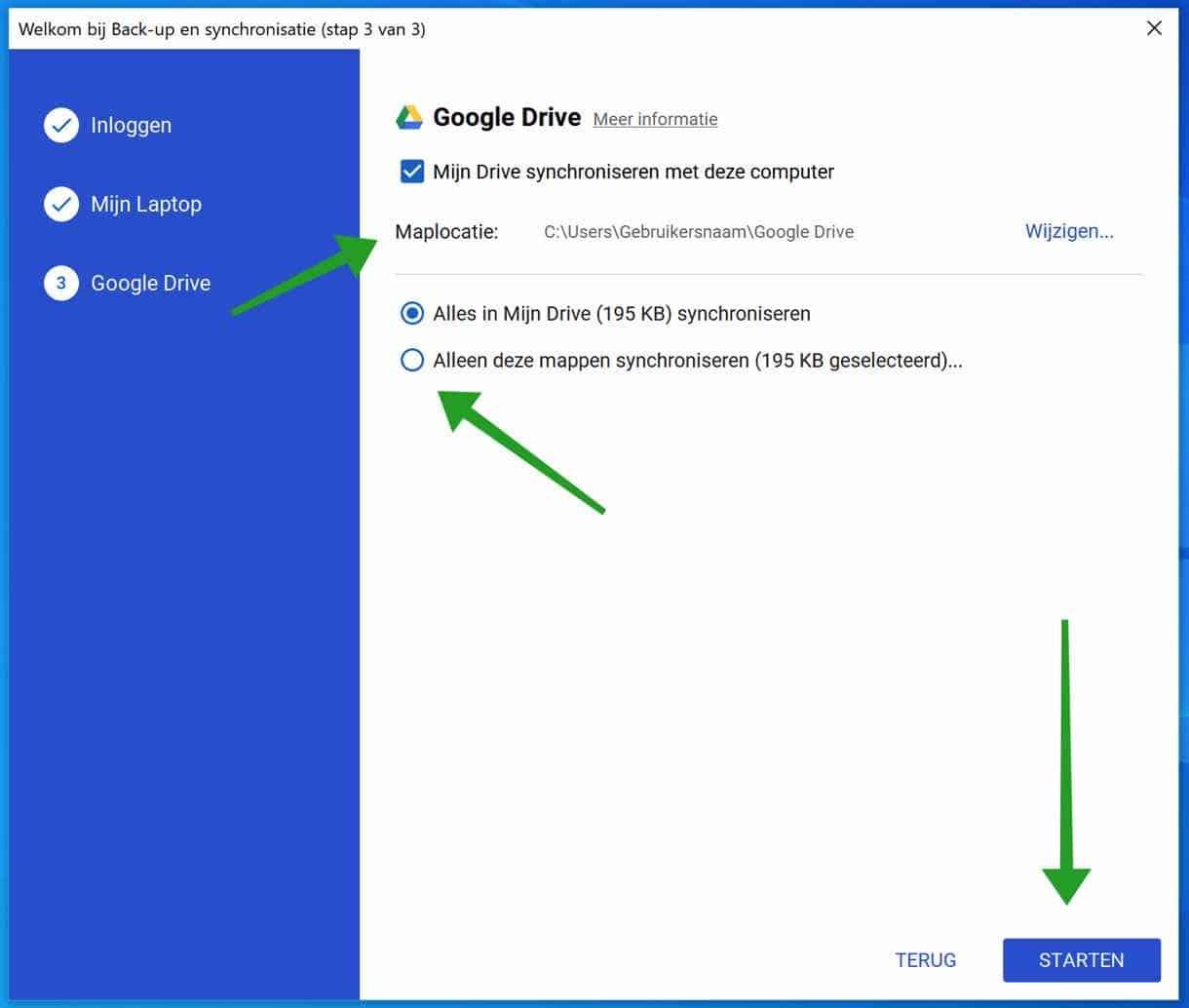 Google back-up en synchronisatie Google Drive starten