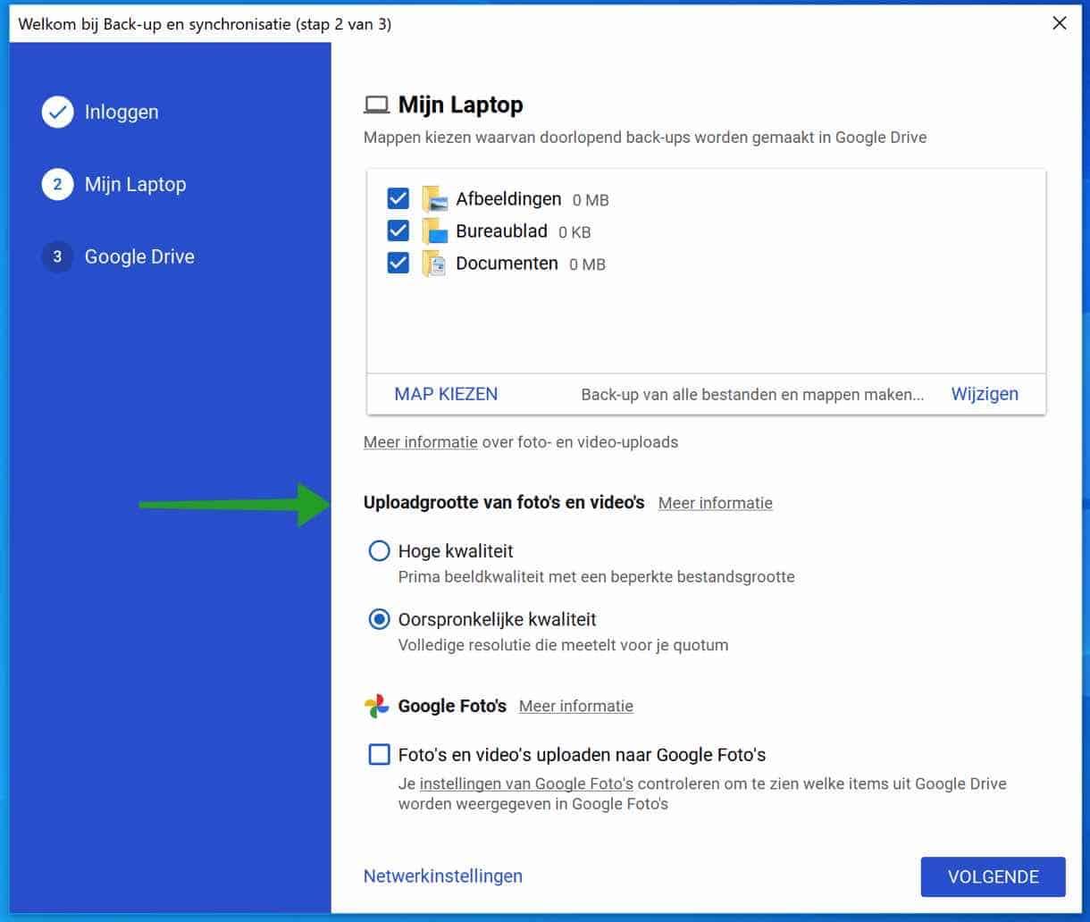 Google back-up en synchronisatie bestandstype uploadgrootte van fotos en videos instellingen