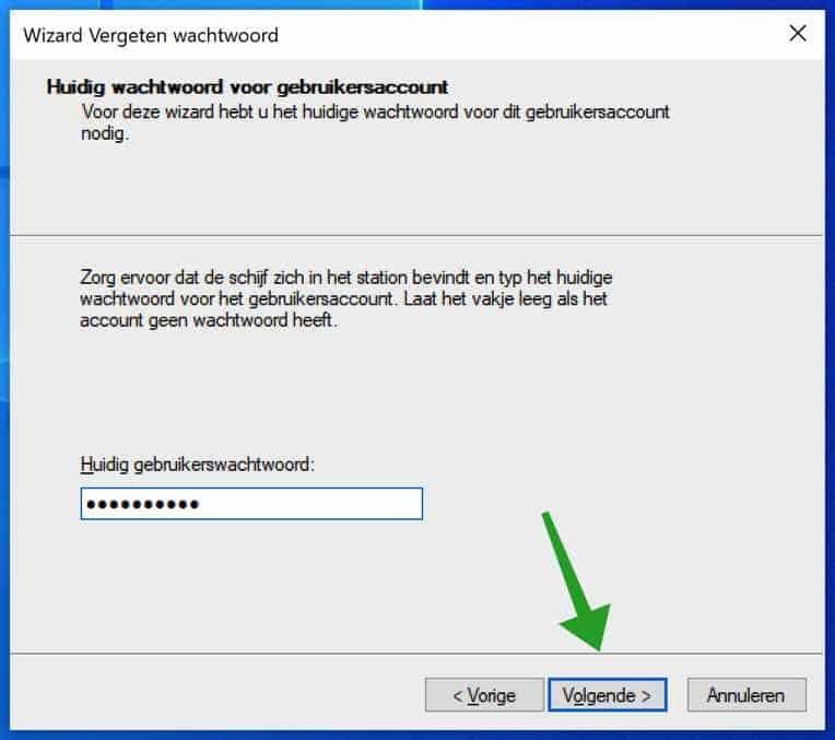 Huidig wachtwoord ingeven voor windows wachtwoord herstelschijf